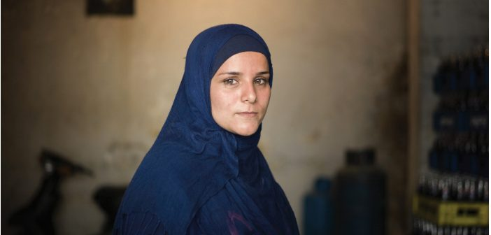 One of the women entrepreneurs interviewed as part of the programme 'Selling Strength' in a refugee camp in Lebanon.